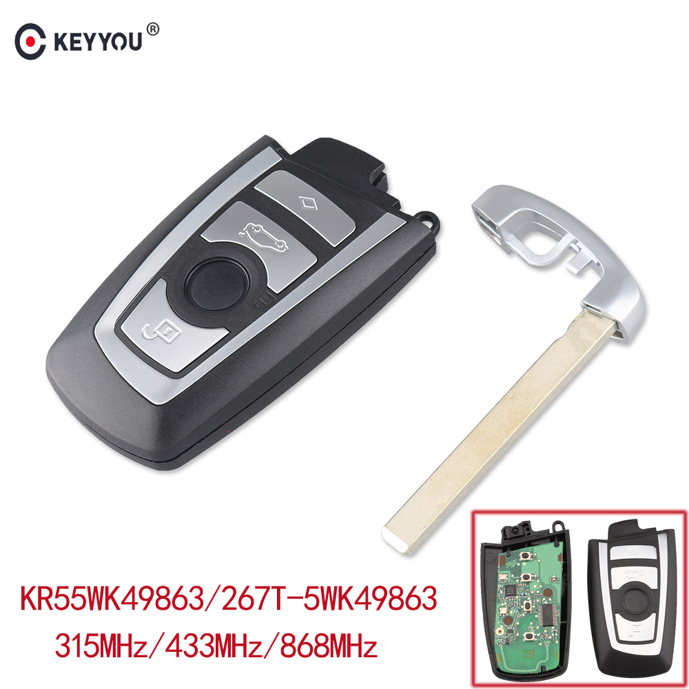 KEYYOU 4 Button Remote Control Car Key Fob Case For BMW 5, 7 Series CAS4 Keyless Entry Remote KR55WK49863 315/433/868mhz keyyou brand new keyless entry remote car key fob 2 button for honda civic crv jazz hrv no chip free shipping