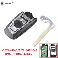 KEYYOU 4 Button Remote Control Car Key Fob Case For BMW 5  7 Series CAS4 Keyless Entry Remote KR55WK49863 315/433/868mhz|Car Key| |  -