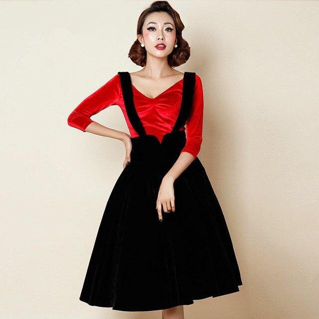 5e2141341c8 40- women vintage 50s black velvet circle swing suspender skirt plus size  4xl faldas overalls braces rockabilly pinup skirts
