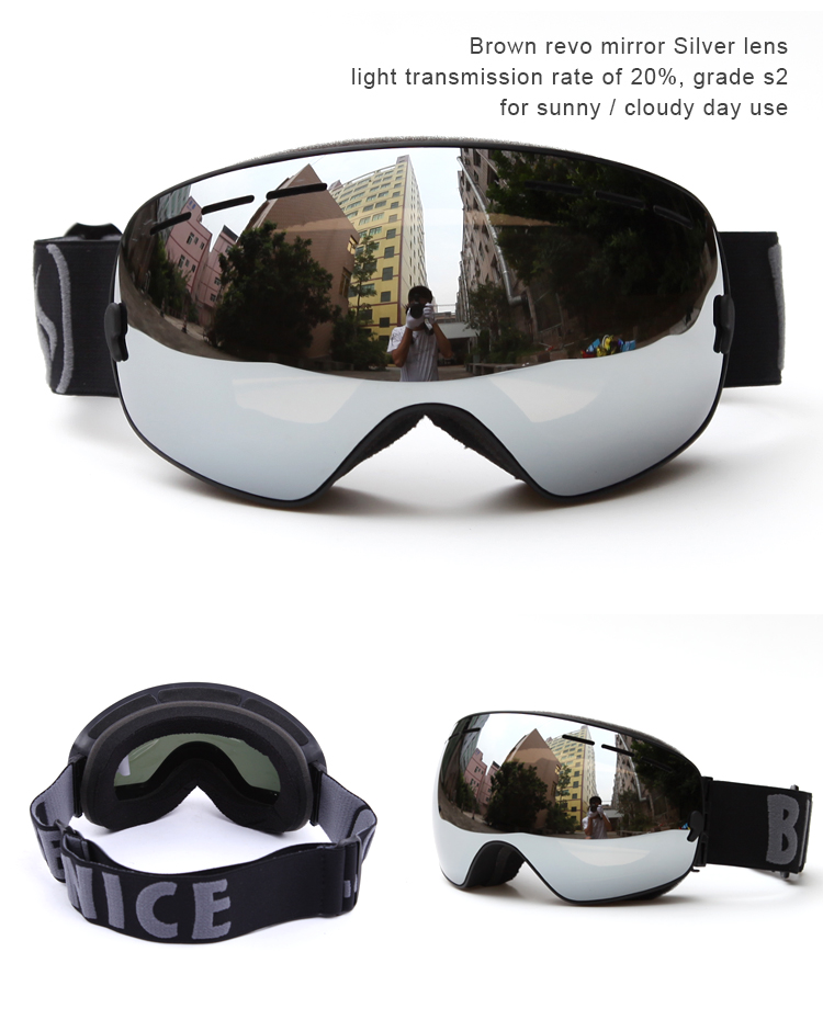 Benice ski goggles double lens UV400 anti-fog spherical ski glasses skiing men women snow goggles 3100 ...