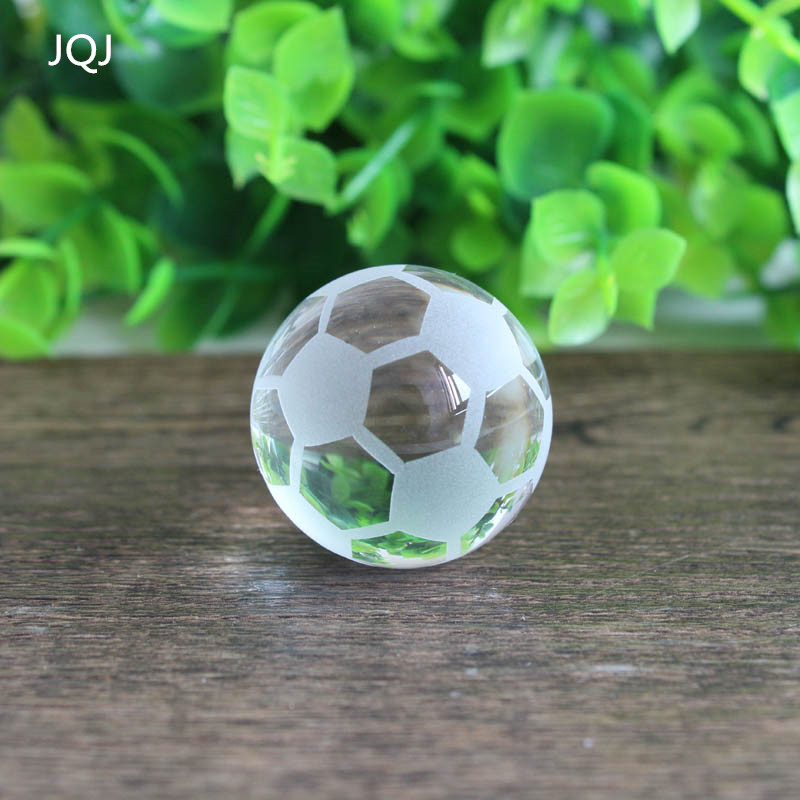 JQJ 30mm Crystal Soccer Ball Model Paperweight Fengshui Glass Football Stone Globe Mini Balls Sale Home Decor Kids Fans Gifts ...