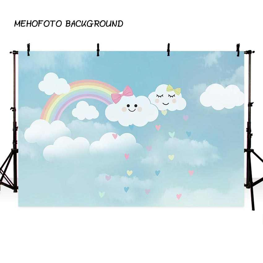 Фотография фон мультфильм голубое небо белое облако зонтик Радуга детское шоу день рождения тема фон профессиональная Фотостудия