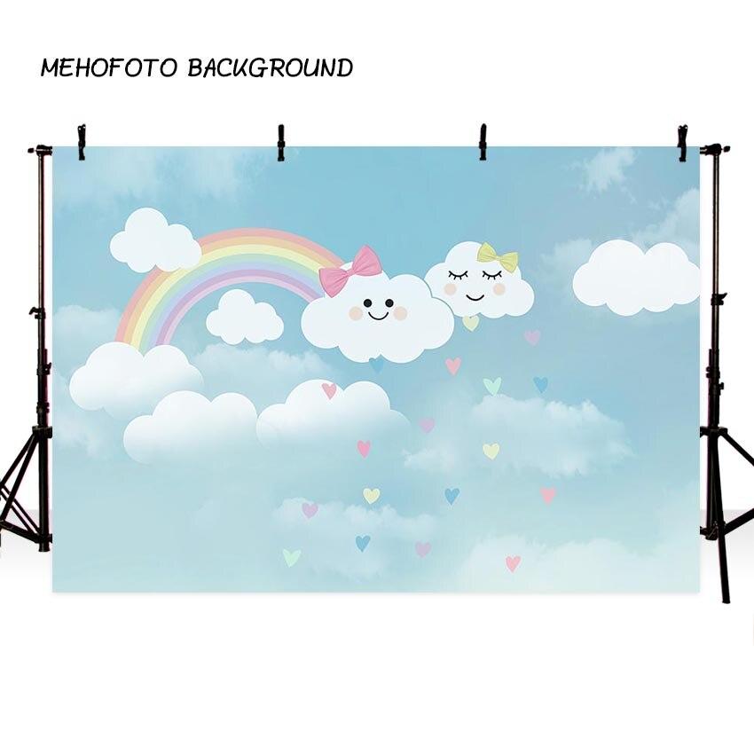 Photo Studio Photography Background Baby Theme Cute Cartoon Children Room Cloud Umbrella Rainbow Backdrop Photocall Professional Photo Studio