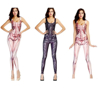 Adult Sexy Women Jumpsuit Sugar Skull Ladies Halloween Catsuit Costume H8854 Cosplay Bodysuits Onesie Overalls Lady