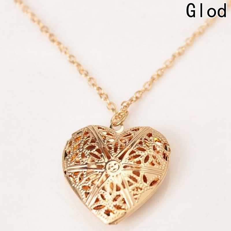 93c671c9ec Hollow Love Heart Locket Necklace Pendant 2 Colors Openable Vintage Gift  For Lover