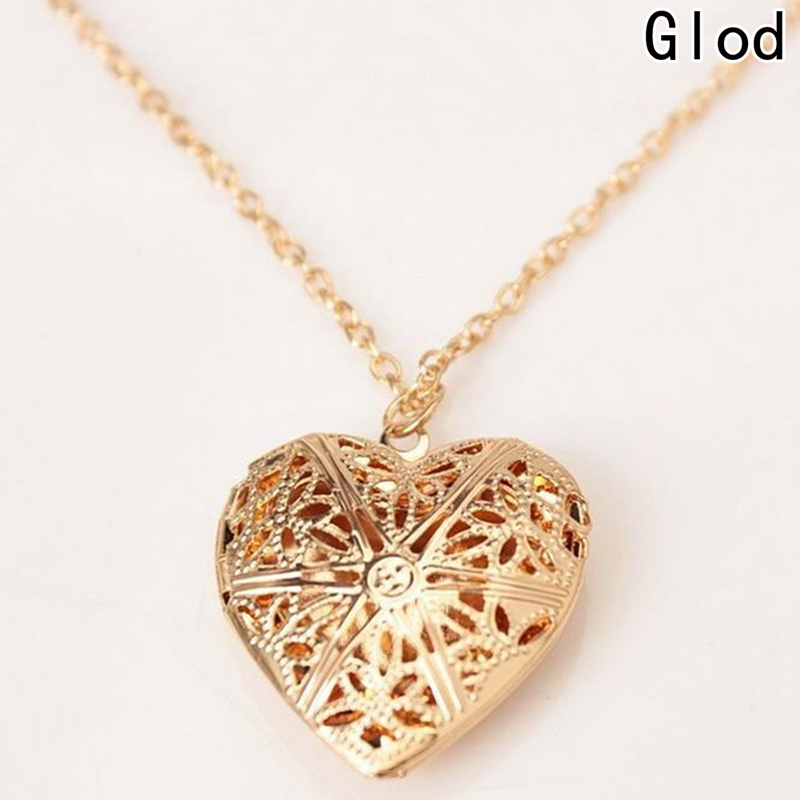 PORPI-JOJO Flower Heart Locket Necklace Pendant for Women Girl Christmas Jewelry That Holds Pictures