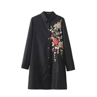 Fashion 2016 Women S Black Floral Embroidery Shirt Dress Female Lapel Long Sleeved Casual Blouse Quality