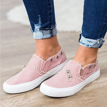 HEE GRAND New Canvas Shoes 2019 Women Flats Slip on Loafers Ripped Denim Shoes Casual Outdoor Shoe Zipper Summer Creepers XWF709 цены онлайн