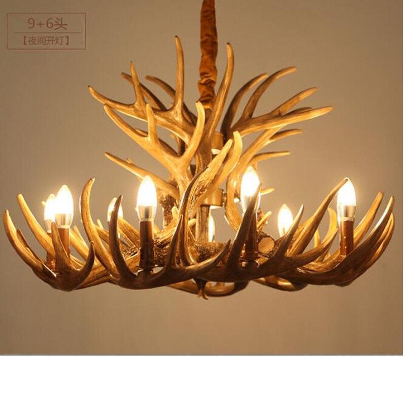 Американский Страна творческий ретро смолы люстра Nordic гостиная ресторан смолы филиал свеча рога люстра светодиодные лампы
