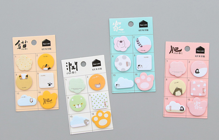 Creative fat cat Marker Self-Adhesive Memo Pad Sticky Notes Post It Bookmark School Office Supply Escolar Papelaria