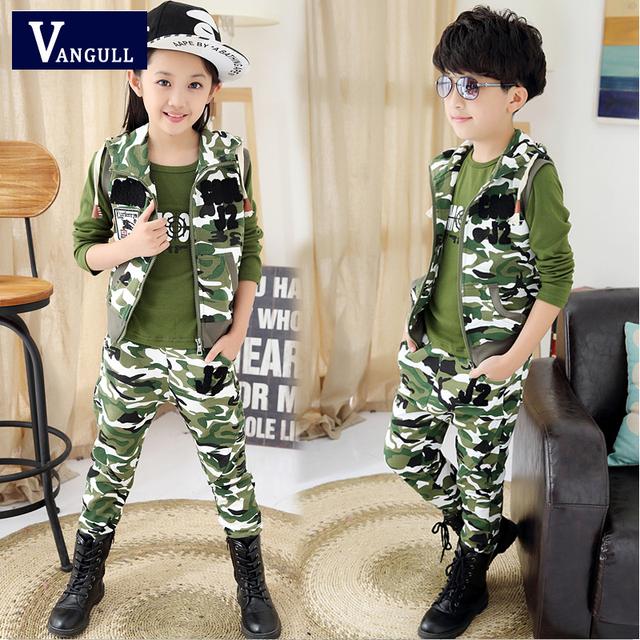 Meninos e meninas primavera desgaste 2016 novas crianças esporte terno outono menino camuflagem três peças de manga comprida