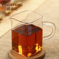 PINDEFANG Office Square Hand-blown Heat-resistant Glass Fair Mug Serving Cup Sharing pot Gift teaset Home Kungfu teaware giftset