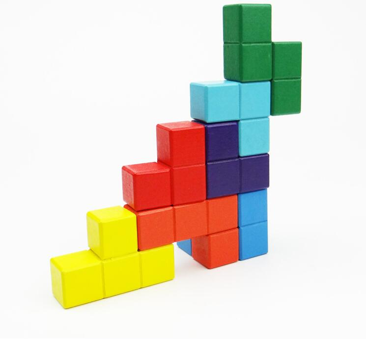 ... Natural Wood Classic 6x6x6 3D Tetris Cube Puzzle Brain Trainning Game  Education Toys (8)