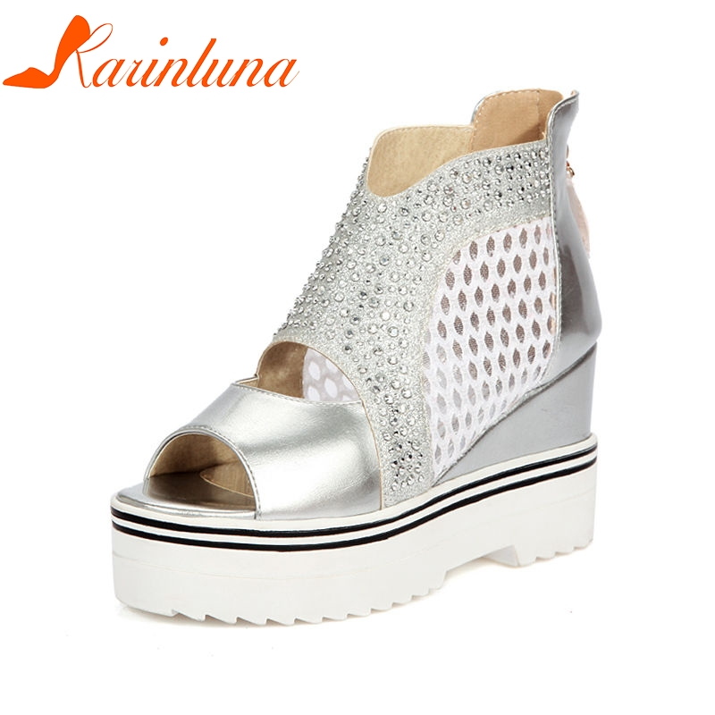 KARINLUNA 2018 Summer Youthful Women Platform Sandals Big Size 34-43 Mesh Bling Ctystal Wedges Shoes Woman phyanic 2017 gladiator sandals gold silver shoes woman summer platform wedges glitters creepers casual women shoes phy3323