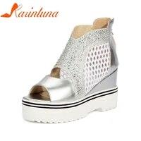 KARINLUNA 2018 Summer Youthful Women Platform Sandals Big Size 34 43 Mesh Bling Ctystal Wedges Shoes