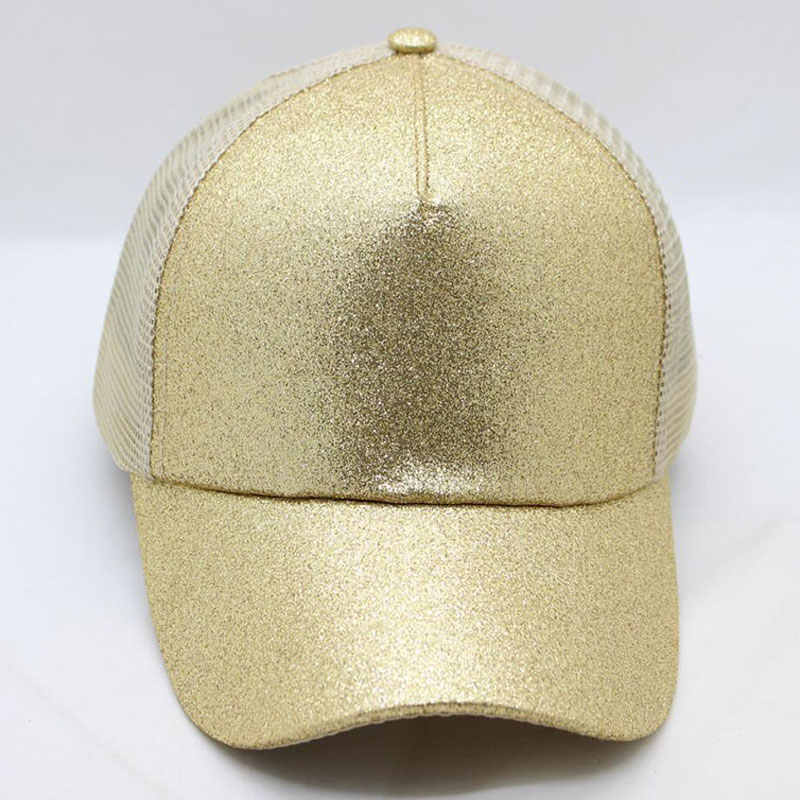 14aa98535 Women's Hat Glitter High Ponytail Hole Cap 5 Panel Mesh Trucker Baseball  Cap Gold Silver White Black Pink Brown Blue