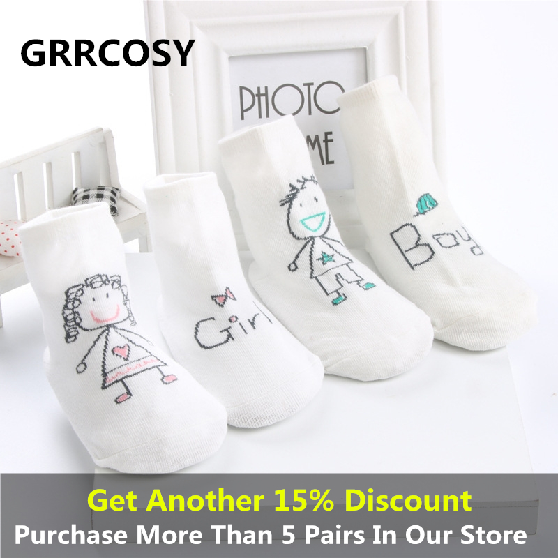 GRRCOSY Newborn Socks Cartoon  Cotton Baby No-slip Infant Male girl asymmetric cartoon children socks