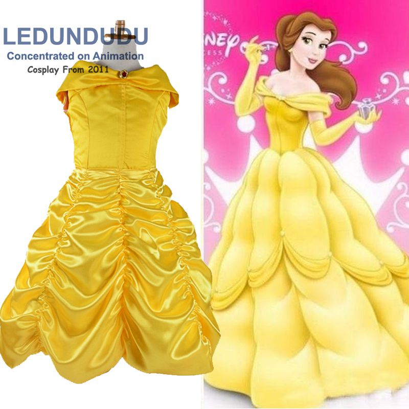 Kids Beauty and the Beast Girls Cosplay Costumes Children Belle Princess Cos Party Dress