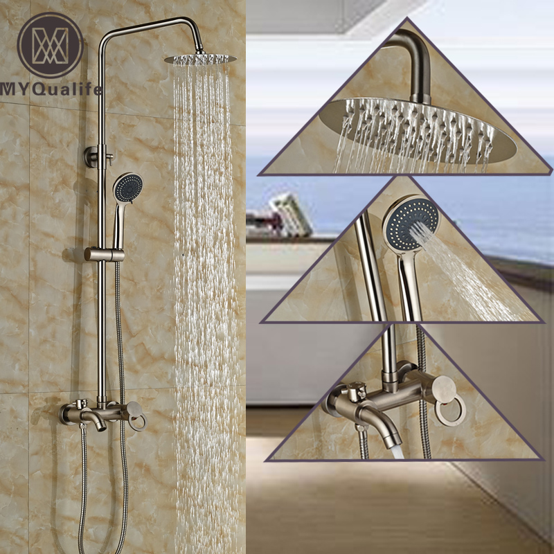 Good Quality Single Lever Bath and Shower Set Faucet Wall Mounted Bathroom Shower Mixer Taps with Hand Shower luxury single lever bath tub shower set wall mounted shower faucet hot