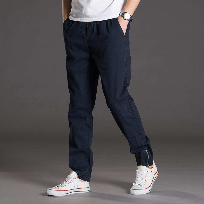 Mens 100%Cotton Casual Pants Good Quality Solid Spliced Cargo Pants New Fashion Male Full Length Trousers Size 4XL