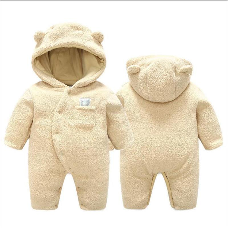 Winter new princess cotton robes newborn baby romper baby clothes jumpsuit hooded plus velvet baby boy clothes newborn baby romper winter clothes hooded cotton outdoor roupas para recem nascido long sleeve baby boy winter thick 607022