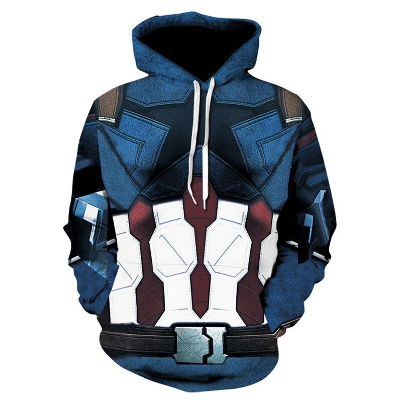 Men Captain America Avengers League Superhero Fleece Hoodie Clothing Zipper Jacket Coat  ...