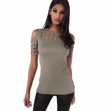 4 Colors Women's Short Sleeve Shirts Tops Bodycon Hollow Out Block Cold Shoulder Cotton Shirts Slim Blusa Feminino LX235