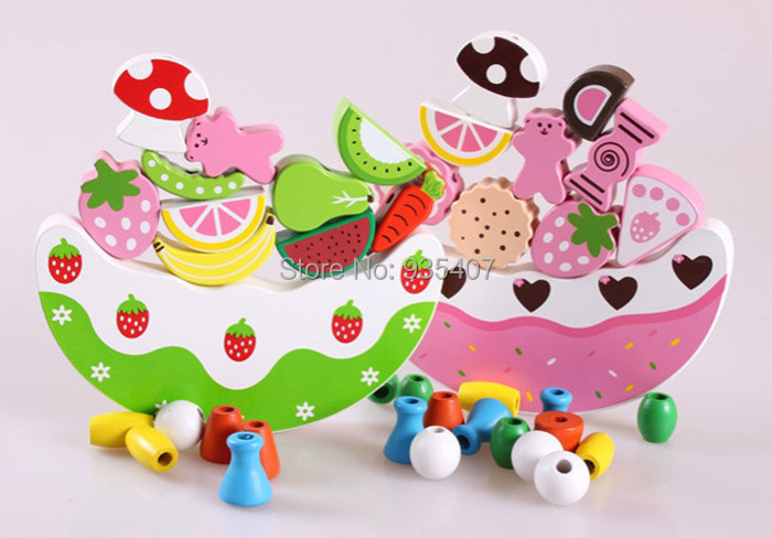 New Wooden toy simulation fruit cake balance blocks Free shipping in Blocks from Toys Hobbies