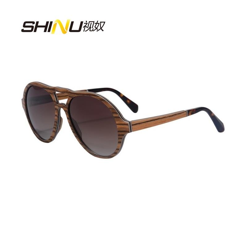 SHINU značka dřevo Sluneční brýle muž Retro dřevěné brýle Polarizované jízdní brýle Lunette De Soleil SH73004