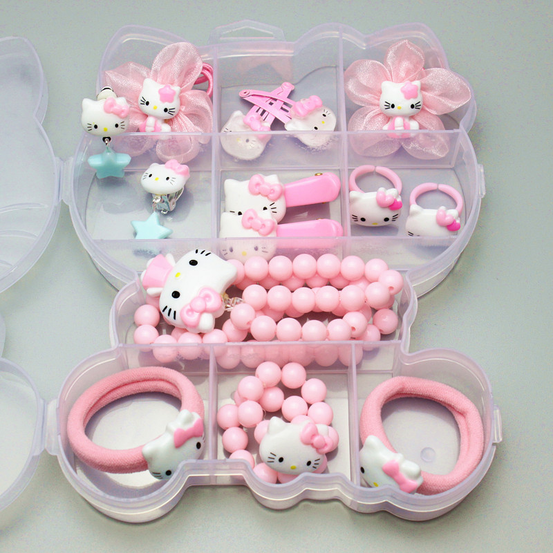 Whole Set Hello Kitty/Bear Accessories For Girls Elastic Hair Bands Hair Clips Barrettes Necklace Earring KIDS Birthday Gift