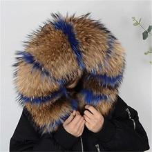 Горячая Распродажа, Модный зимний воротник из натурального меха, женские шарфы, пальто, свитера, шарфы, воротник, роскошный мех енота, шейный платок