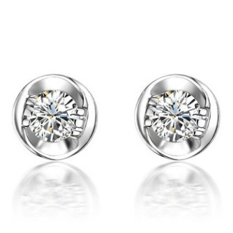 Uni Stud Earrings Simple 0 3 Carat Simulated Diamond 925 Sterling Silver Platinum Plated In From Jewelry