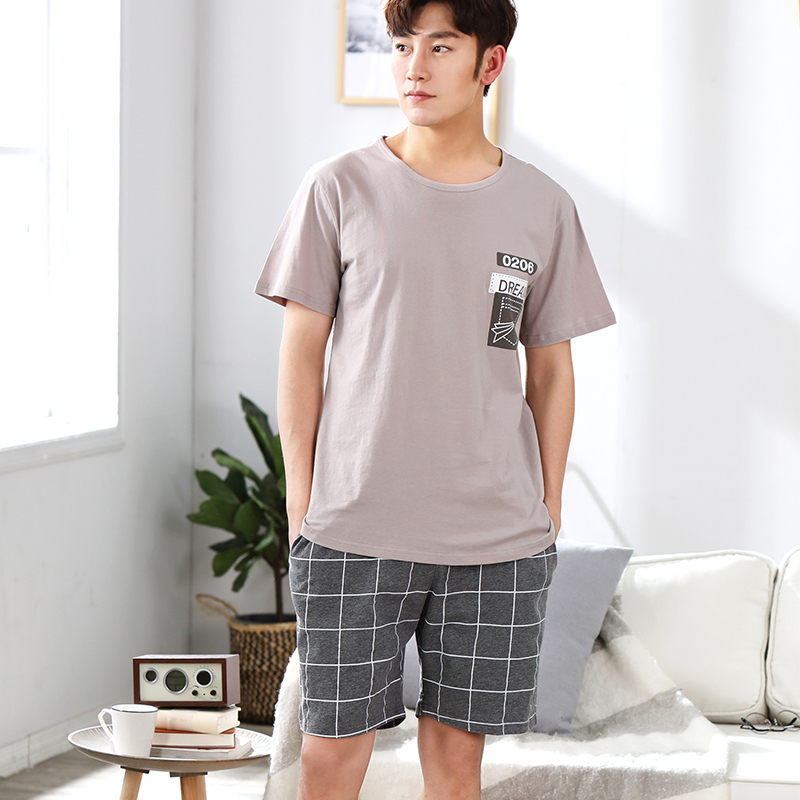 WAVMIT Summer Pajamas Sets Simple Sleepwear Men's Short Sleeve Nightwear Top Pant