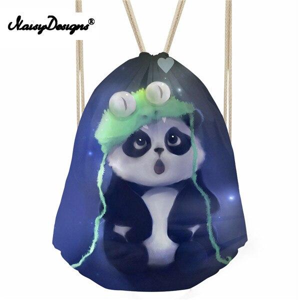 Noisydesigns Cute Women Drawstring Bag Animal Panda Print Travel Women s Mochila School Girls Reusable Shopping