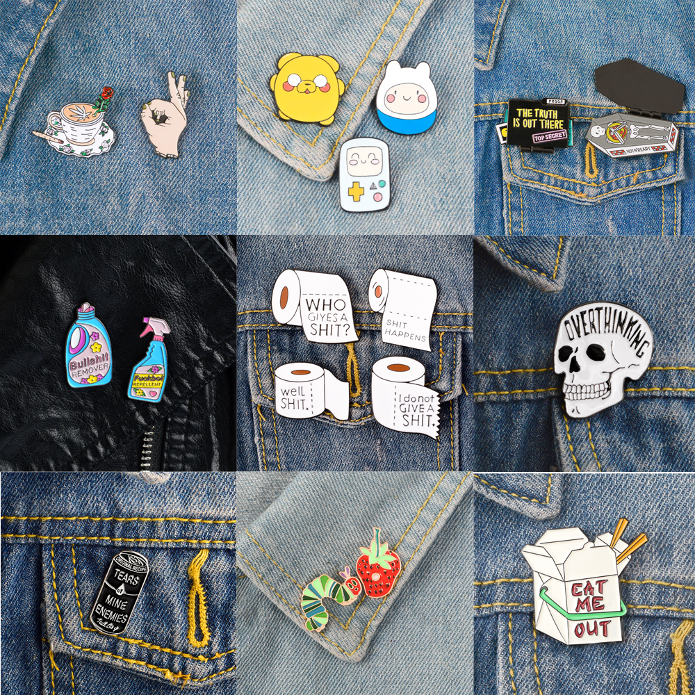 1 PC Metal Brooch Collar Pins Alloy Brooches Jeans Shirt Handbag Badges On Backpack  Anime Clothes Cartoon Pin