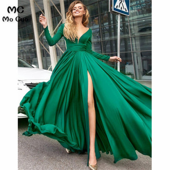 Elegant 2018 Long Sleeve Evening Prom dresses Long Deep V-Neck Front Slit Vestidos de fiesta Formal Evening Dress