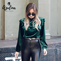 AZULINA Vintage Ruffle Velvet Blouse Shirt Women Spring Summer Fashion Green Tops Blusas Long Sleeve Stand Collar Steetwear