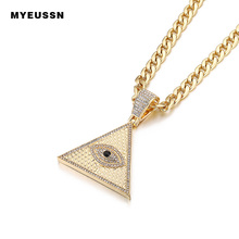 Triangle Egyptian Pyramid Necklaces&Pendant with cuban chain Iced Out Illuminati Evil Eye Of Horus Gold/Silver Hip Hop jewelry mens gold plated egyptian pharaohs eye of horus ra udjat stainless steel ring hip hop jewelry size 7 15
