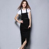 Suspender Dress Women Two Piece Suits Zipper Pockets Before Split Dress Letter Print Short Sleeve Top