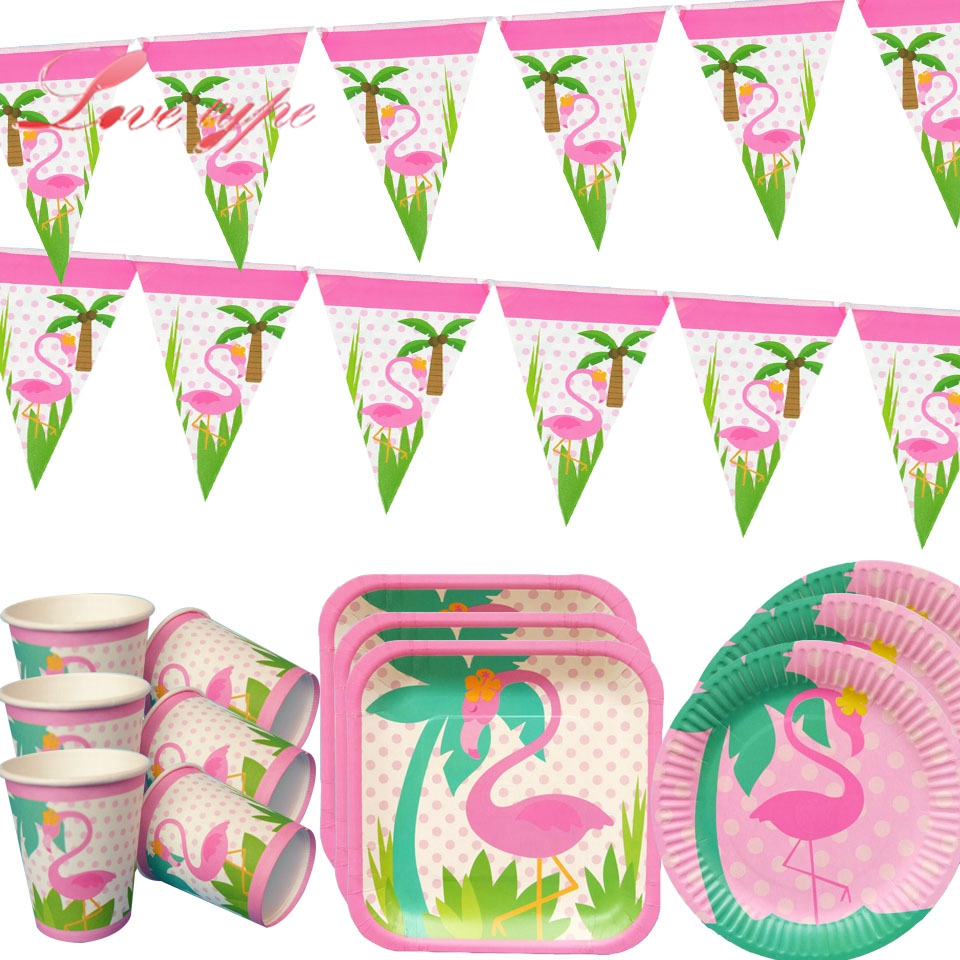 Disposable Tableware Sets Party Cup Plate Flamingo Theme Champagne Party Supplies Wedding/Kid Birthday/ Pool Party Decoration