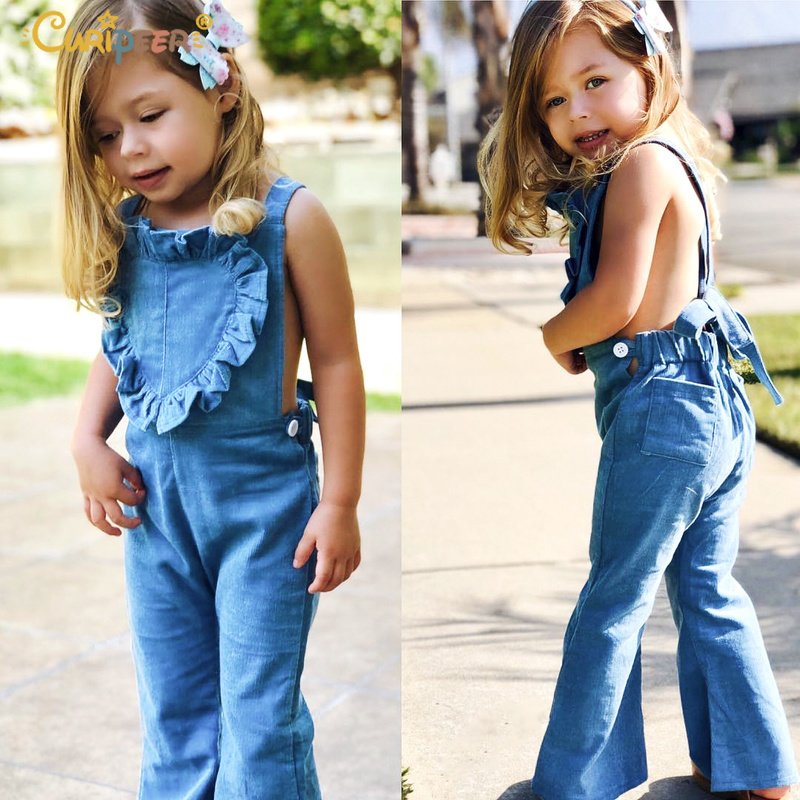 2019 Spring Child Women Overalls Cute Child Bib Pants Blue Woman Bell Bottoms Gentle Toddler Jumpsuit Youngsters Suspender Flares Ruffles