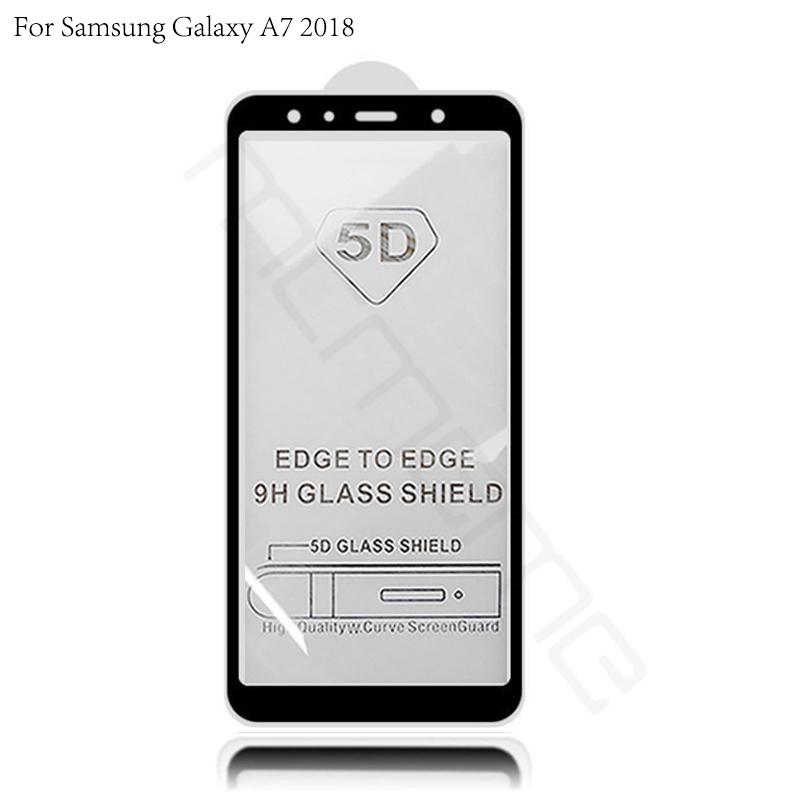 5D Tempered Glass For Samsung Galaxy A7 2018 Full Coverage Screen Protector Protective Film SM A750F