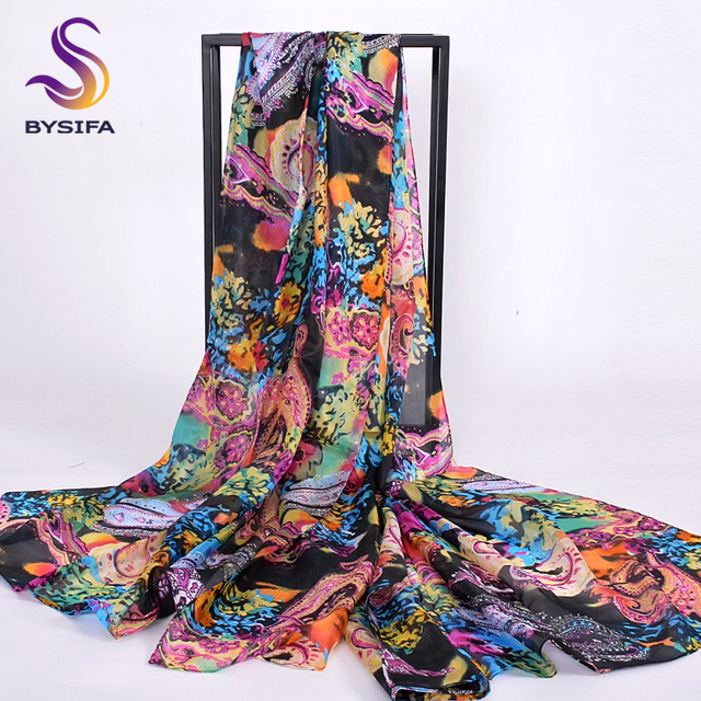 [BYSIFA] Winter Black Pure Silk Scarf Shawl Women 2016 New Accessories Ladies Scarves Wraps 200*110cm 100% Mulberry Silk Scarf