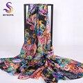 [BYSIFA] invierno Negro Pura Bufanda de Seda de Las Mujeres 2016 Nuevos Accesorios de Las Señoras Bufandas Wraps 200*110 cm 100% Seda de Mora bufanda