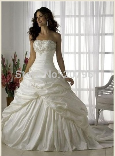 In Stock Ivory&white taffeta with embroidered Strapless Wedding Dresses 2016 New Vestido de noiva bridal gown size 6-16