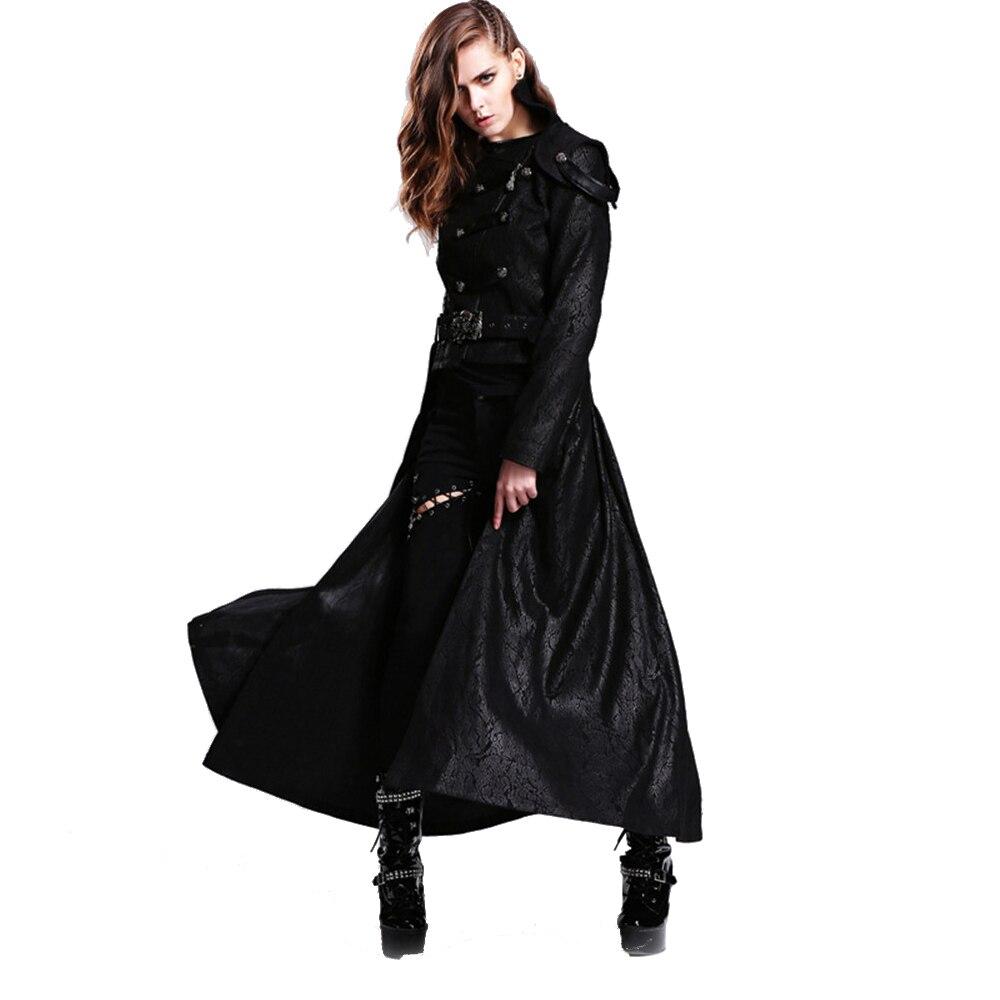 Дьявол Мода панк Женская Съемная длинное пальто Готический двухстороннее Короткое Пальто Повседневное Тренч макси