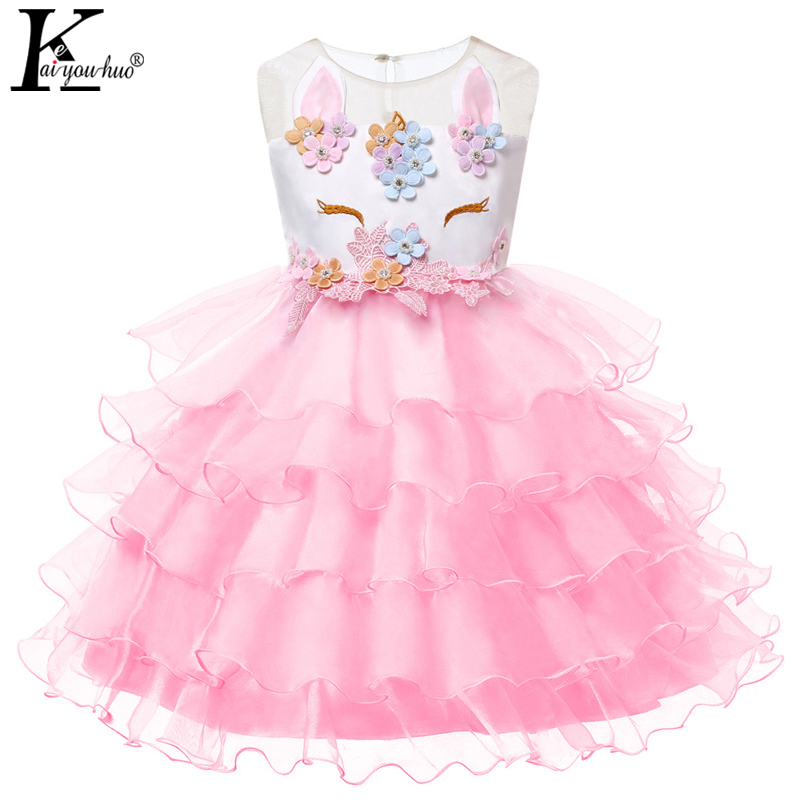 Girls Dress Wedding Princess Kids Dresses For Girls Clothes Summer Children Unicorn Party Dress Vestidos 3 4 5 6 7 8 9 10 Years children princess clothes white grey lavender pink dresses kids 5 6 7 8 9 10 11 12 13 years long party dress girls wedding gowns