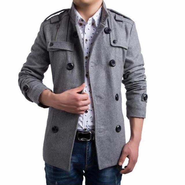 Los nuevos hombres de invierno 50% abrigo de lana slim fit doble de pecho outwear guisante abrigo negro y gris tamaño ml xl xxl 3xl ay014a