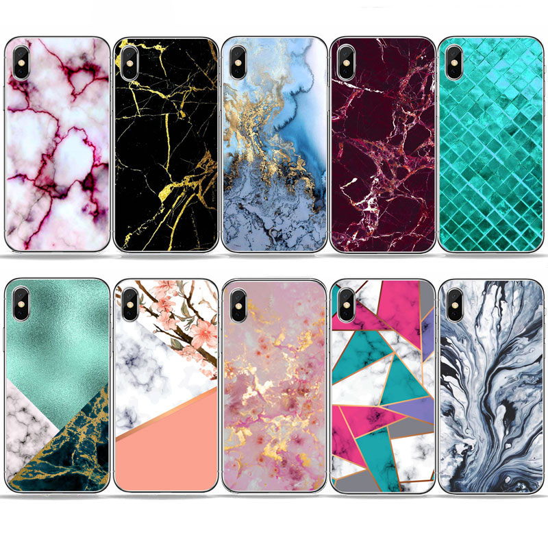 Vintage Glossy Marble Patterned Phone Case For huawei honor 10 P8 P9 P10plus Soft TPU Silicone White Cover Mate Lite case