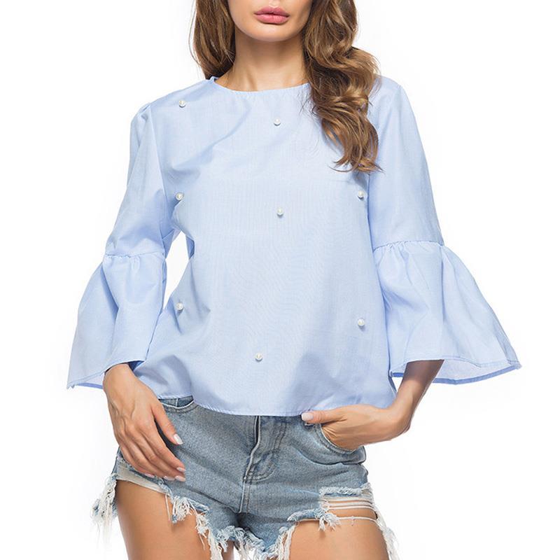 Trompeta Camisa Casual O Manga Mujeres Cuello Perla Camisas Blusa Blusas Larga Ws9354z Light Rebordear Otoño 2018 Señoras Blue qwvwnIPU